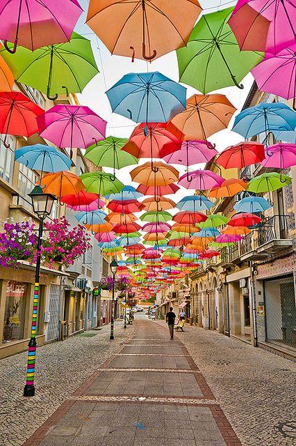 The umbrella street in Agueda, Spain